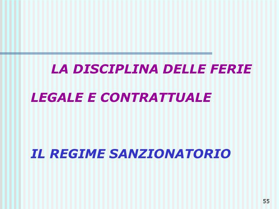 55 LA DISCIPLINA DELLE FERIE LEGALE E CONTRATTUALE IL REGIME SANZIONATORIO
