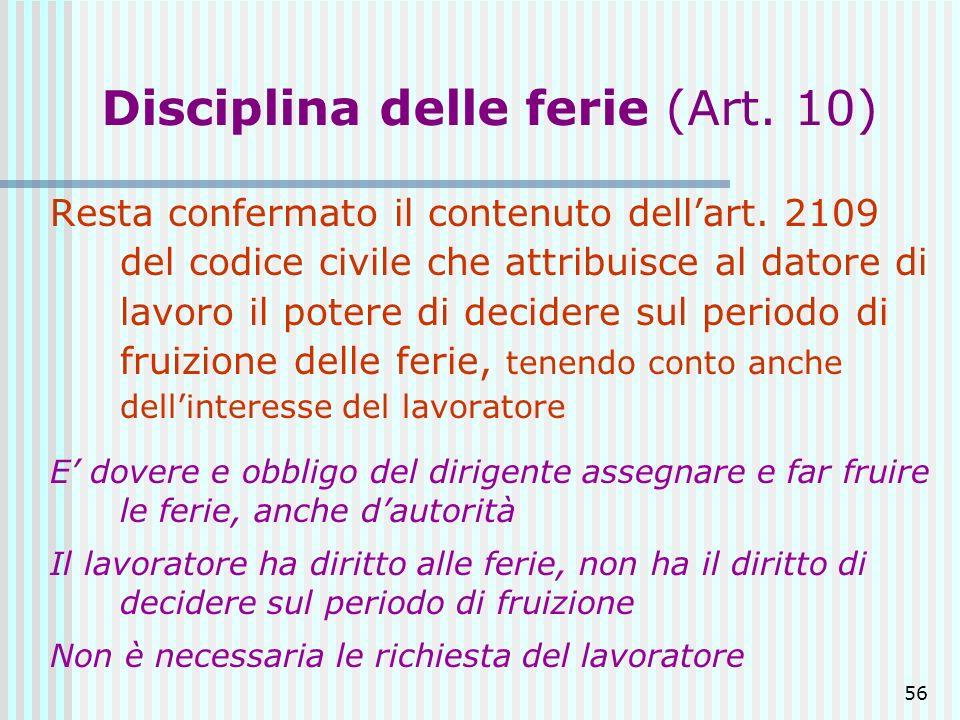 56 Disciplina delle ferie (Art. 10) Resta confermato il contenuto dellart. 2109 del codice civile che attribuisce al datore di lavoro il potere di dec