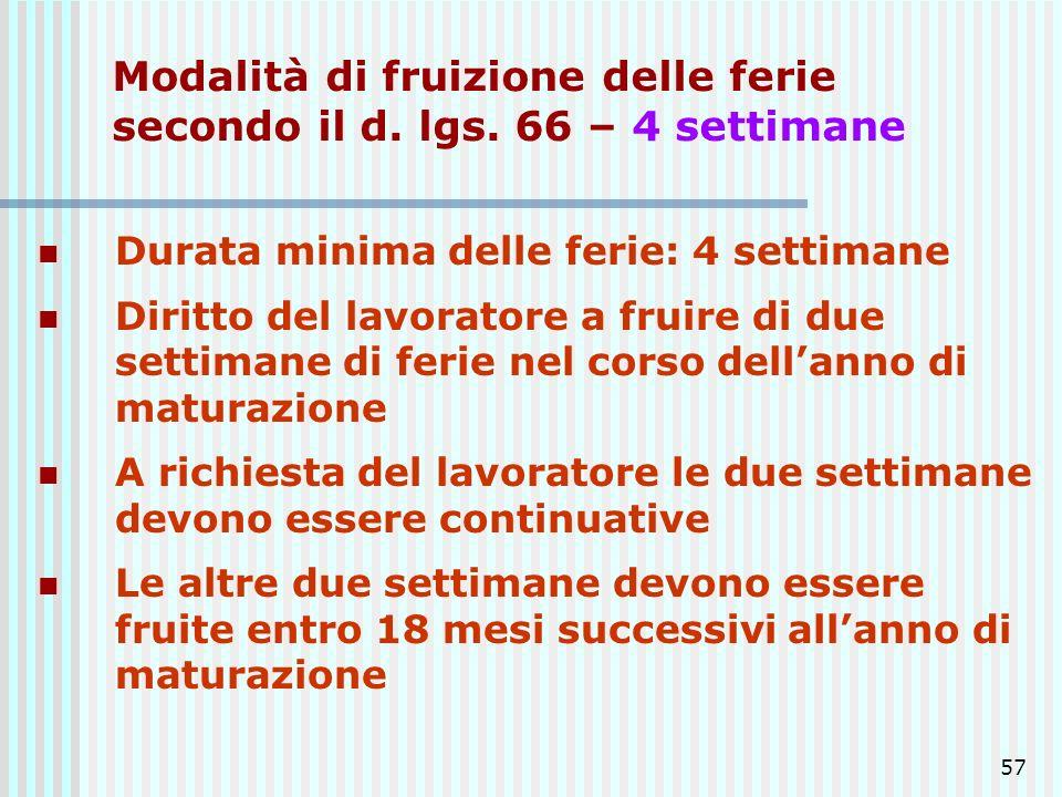 57 Modalità di fruizione delle ferie secondo il d. lgs. 66 – 4 settimane Durata minima delle ferie: 4 settimane Diritto del lavoratore a fruire di due
