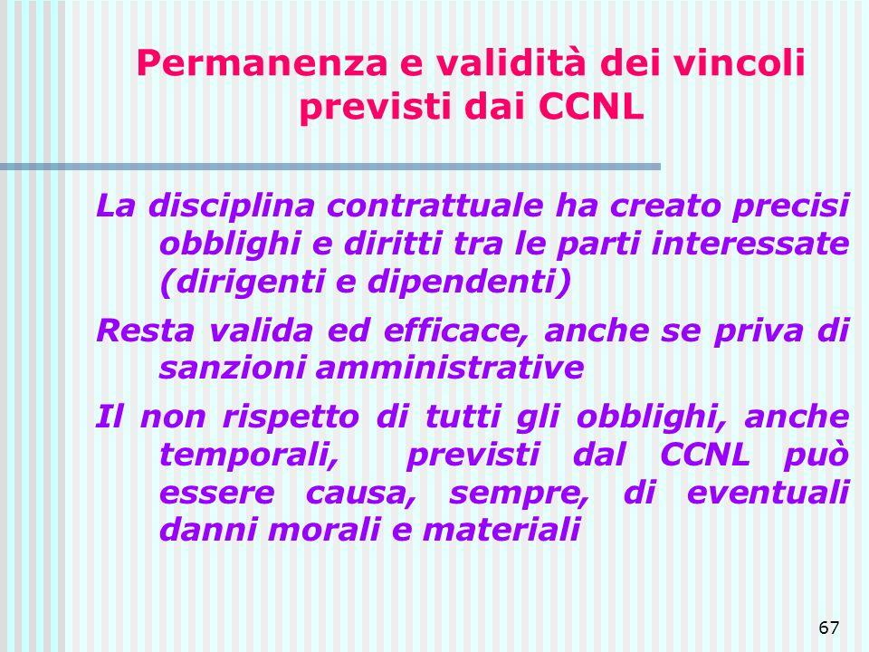 67 Permanenza e validità dei vincoli previsti dai CCNL La disciplina contrattuale ha creato precisi obblighi e diritti tra le parti interessate (dirig
