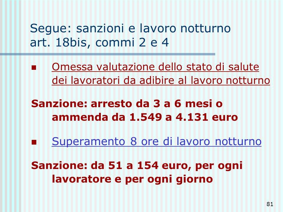 81 Segue: sanzioni e lavoro notturno art. 18bis, commi 2 e 4 Omessa valutazione dello stato di salute dei lavoratori da adibire al lavoro notturno San