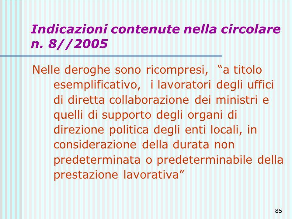 85 Indicazioni contenute nella circolare n. 8//2005 Nelle deroghe sono ricompresi, a titolo esemplificativo, i lavoratori degli uffici di diretta coll