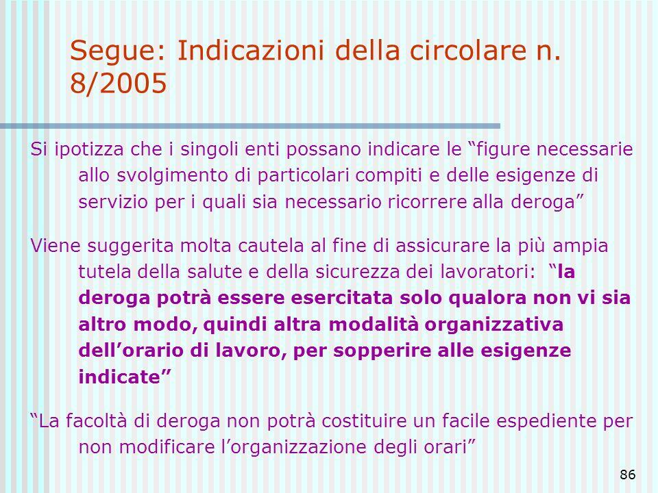 86 Segue: Indicazioni della circolare n. 8/2005 Si ipotizza che i singoli enti possano indicare le figure necessarie allo svolgimento di particolari c