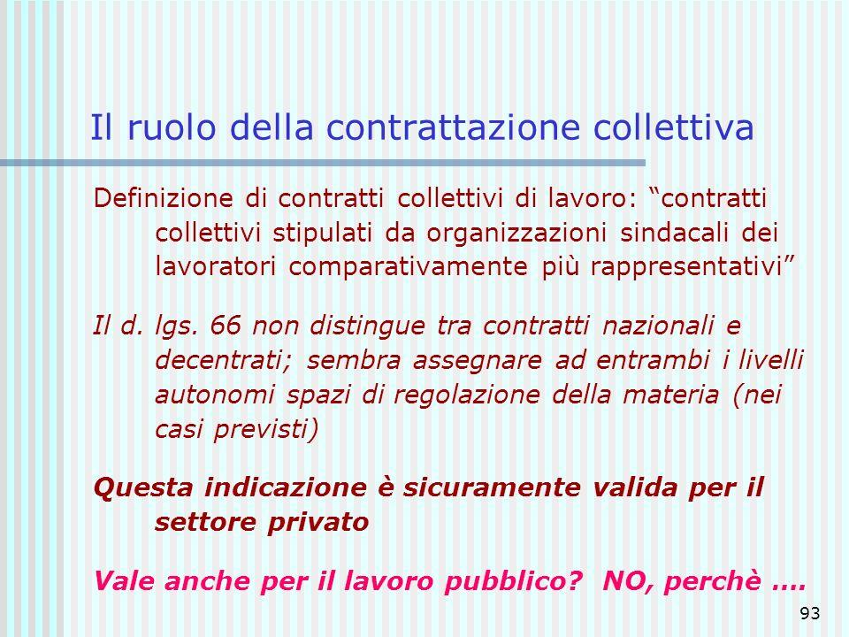 93 Il ruolo della contrattazione collettiva Definizione di contratti collettivi di lavoro: contratti collettivi stipulati da organizzazioni sindacali
