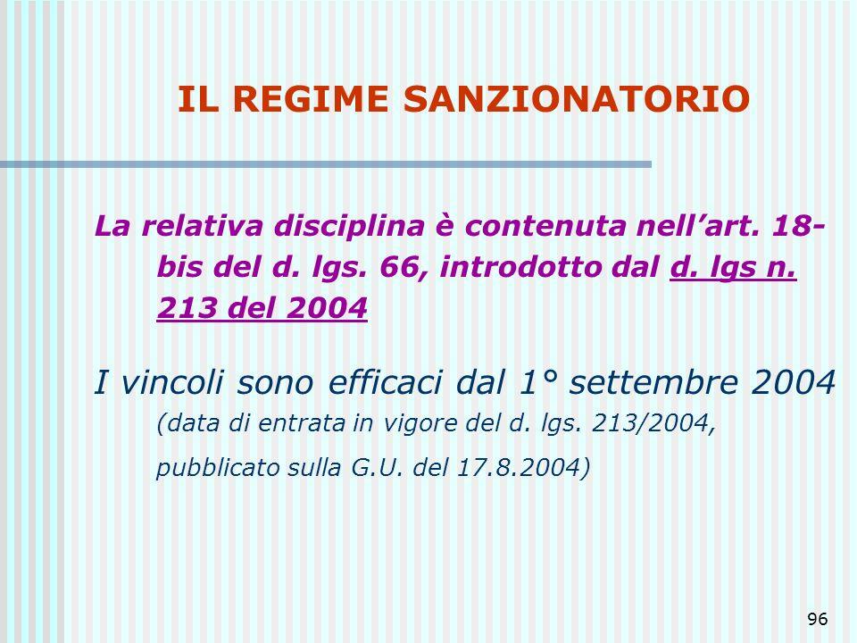 96 IL REGIME SANZIONATORIO La relativa disciplina è contenuta nellart. 18- bis del d. lgs. 66, introdotto dal d. lgs n. 213 del 2004 I vincoli sono ef
