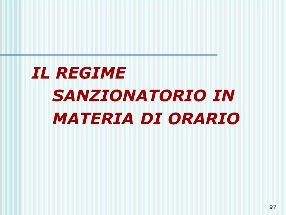 97 IL REGIME SANZIONATORIO IN MATERIA DI ORARIO