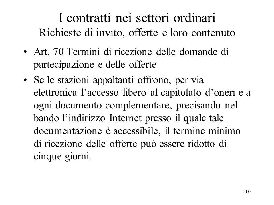 110 I contratti nei settori ordinari Richieste di invito, offerte e loro contenuto Art. 70 Termini di ricezione delle domande di partecipazione e dell