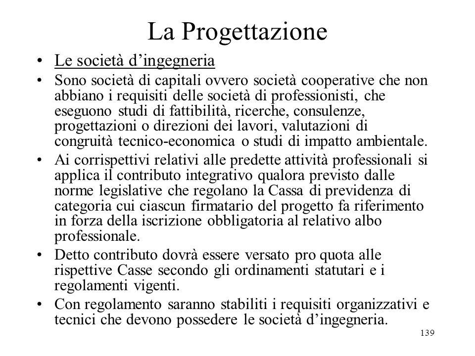 139 La Progettazione Le società dingegneria Sono società di capitali ovvero società cooperative che non abbiano i requisiti delle società di professio