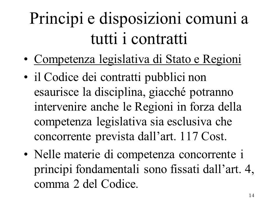 14 Principi e disposizioni comuni a tutti i contratti Competenza legislativa di Stato e Regioni il Codice dei contratti pubblici non esaurisce la disc