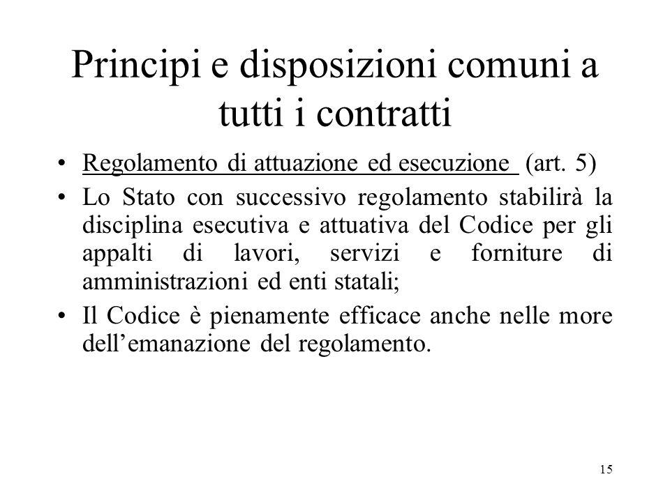 15 Principi e disposizioni comuni a tutti i contratti Regolamento di attuazione ed esecuzione (art. 5) Lo Stato con successivo regolamento stabilirà l