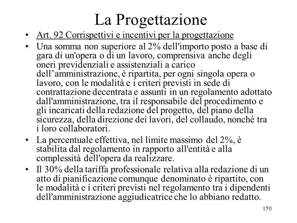 150 La Progettazione Art. 92 Corrispettivi e incentivi per la progettazione Una somma non superiore al 2% dell'importo posto a base di gara di un'oper