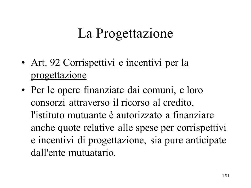 151 La Progettazione Art. 92 Corrispettivi e incentivi per la progettazione Per le opere finanziate dai comuni, e loro consorzi attraverso il ricorso