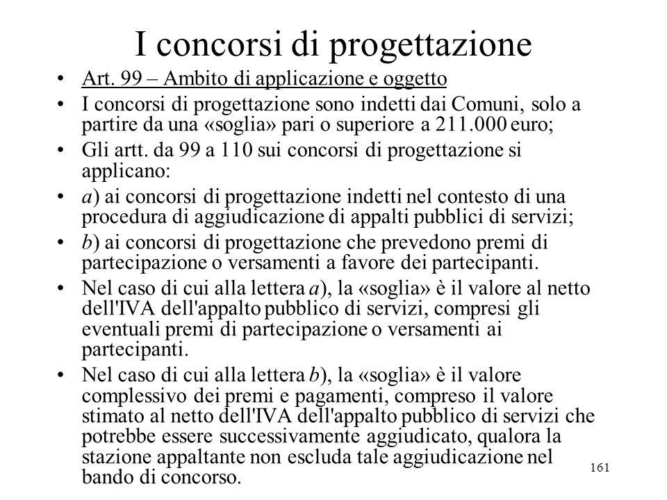 161 I concorsi di progettazione Art. 99 – Ambito di applicazione e oggetto I concorsi di progettazione sono indetti dai Comuni, solo a partire da una