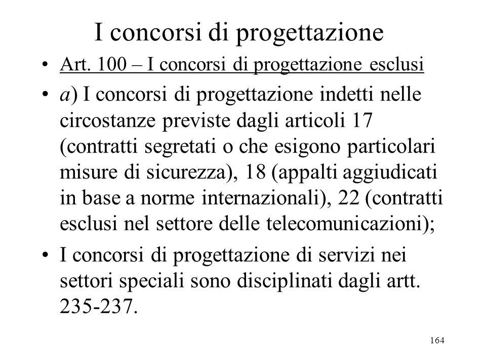164 I concorsi di progettazione Art. 100 – I concorsi di progettazione esclusi a) I concorsi di progettazione indetti nelle circostanze previste dagli