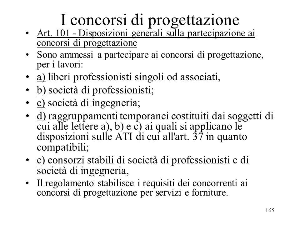 165 I concorsi di progettazione Art. 101 - Disposizioni generali sulla partecipazione ai concorsi di progettazione Sono ammessi a partecipare ai conco