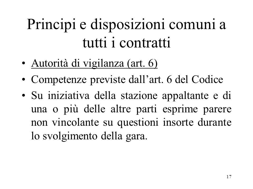 17 Principi e disposizioni comuni a tutti i contratti Autorità di vigilanza (art. 6) Competenze previste dallart. 6 del Codice Su iniziativa della sta
