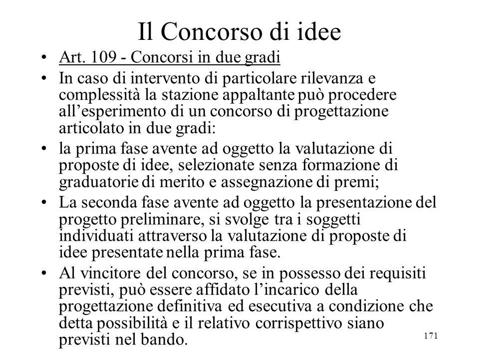 171 Il Concorso di idee Art. 109 - Concorsi in due gradi In caso di intervento di particolare rilevanza e complessità la stazione appaltante può proce