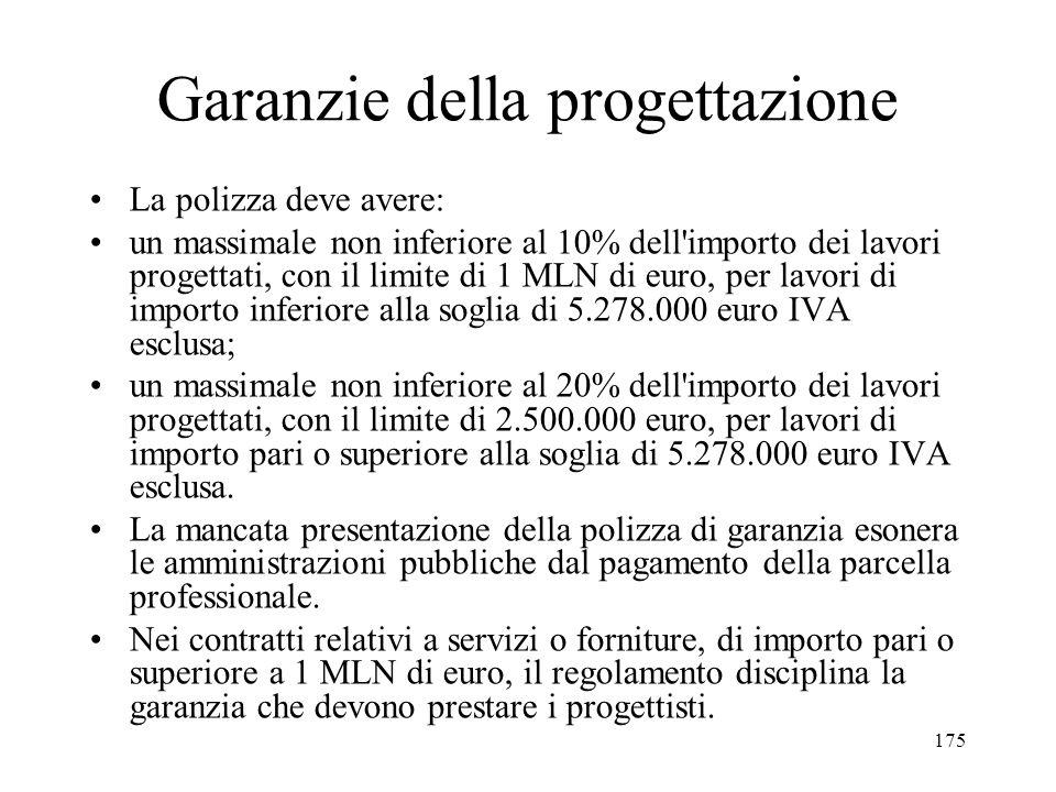 175 Garanzie della progettazione La polizza deve avere: un massimale non inferiore al 10% dell'importo dei lavori progettati, con il limite di 1 MLN d
