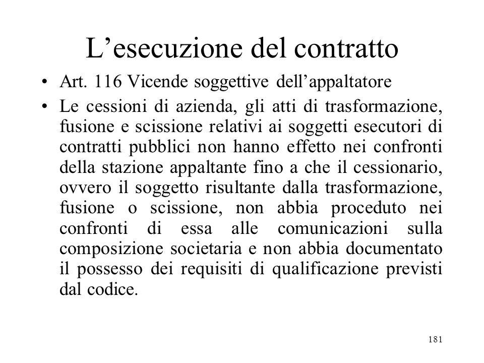 181 Lesecuzione del contratto Art. 116 Vicende soggettive dellappaltatore Le cessioni di azienda, gli atti di trasformazione, fusione e scissione rela