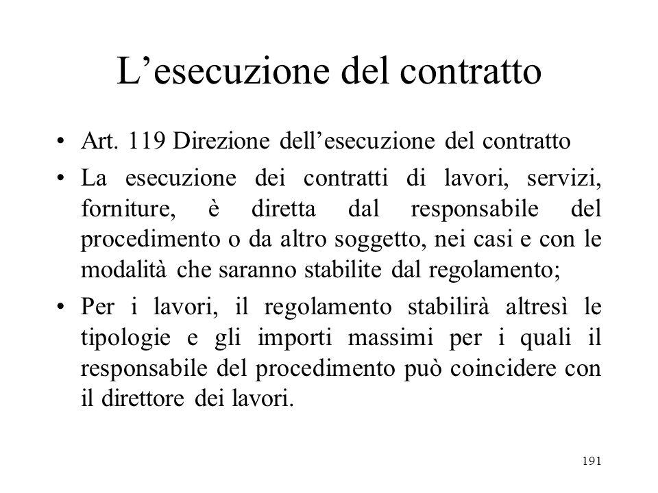 191 Lesecuzione del contratto Art. 119 Direzione dellesecuzione del contratto La esecuzione dei contratti di lavori, servizi, forniture, è diretta dal