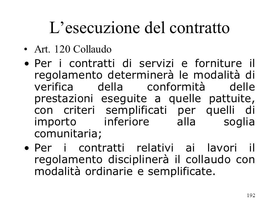 192 Lesecuzione del contratto Art. 120 Collaudo Per i contratti di servizi e forniture il regolamento determinerà le modalità di verifica della confor