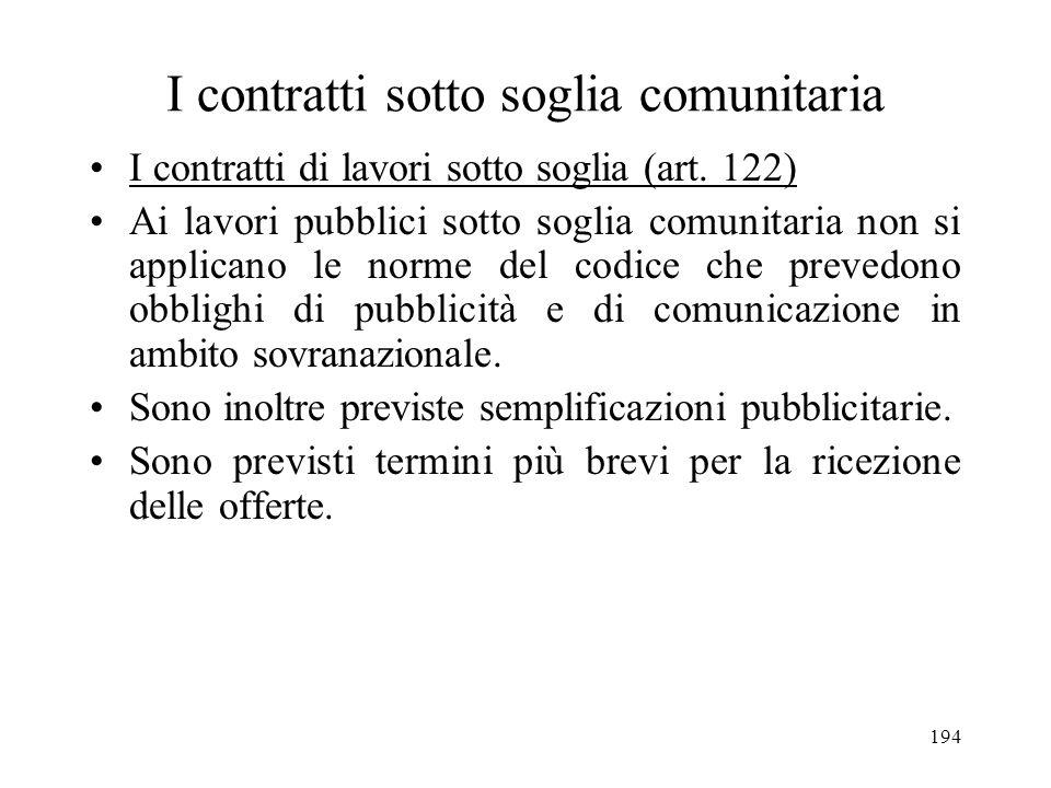 194 I contratti sotto soglia comunitaria I contratti di lavori sotto soglia (art. 122) Ai lavori pubblici sotto soglia comunitaria non si applicano le