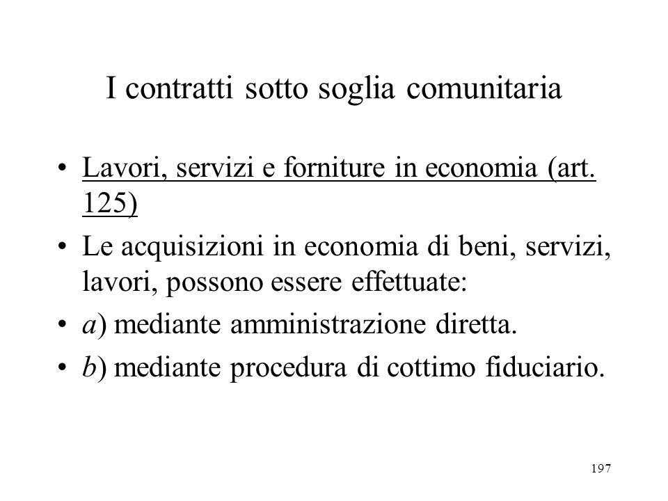 197 I contratti sotto soglia comunitaria Lavori, servizi e forniture in economia (art. 125) Le acquisizioni in economia di beni, servizi, lavori, poss