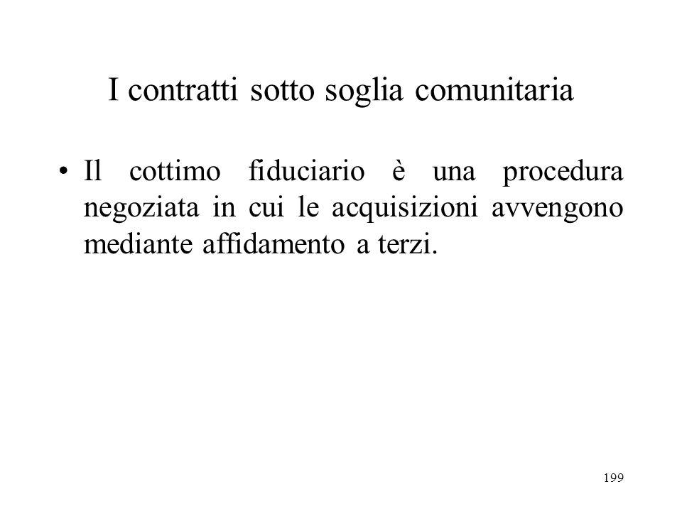 199 I contratti sotto soglia comunitaria Il cottimo fiduciario è una procedura negoziata in cui le acquisizioni avvengono mediante affidamento a terzi