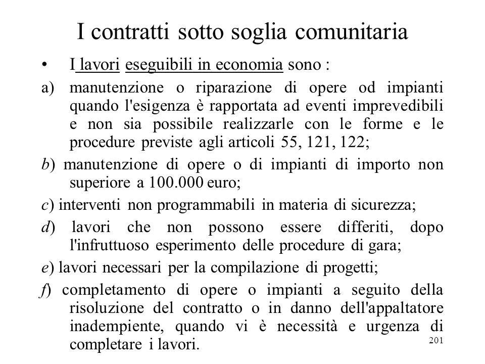 201 I contratti sotto soglia comunitaria I lavori eseguibili in economia sono : a)manutenzione o riparazione di opere od impianti quando l'esigenza è