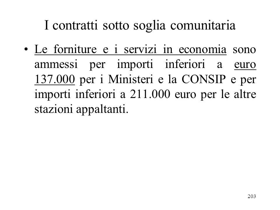 203 I contratti sotto soglia comunitaria Le forniture e i servizi in economia sono ammessi per importi inferiori a euro 137.000 per i Ministeri e la C