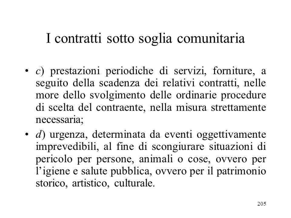 205 I contratti sotto soglia comunitaria c) prestazioni periodiche di servizi, forniture, a seguito della scadenza dei relativi contratti, nelle more