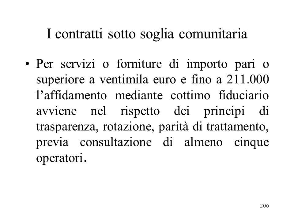 206 I contratti sotto soglia comunitaria Per servizi o forniture di importo pari o superiore a ventimila euro e fino a 211.000 laffidamento mediante c