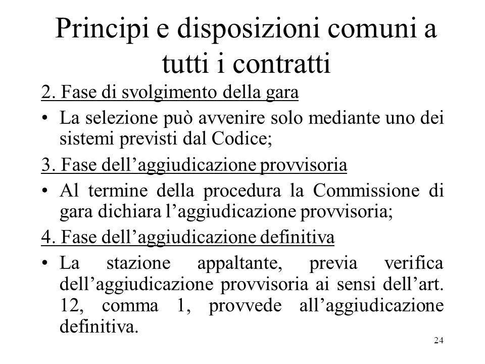24 Principi e disposizioni comuni a tutti i contratti 2. Fase di svolgimento della gara La selezione può avvenire solo mediante uno dei sistemi previs