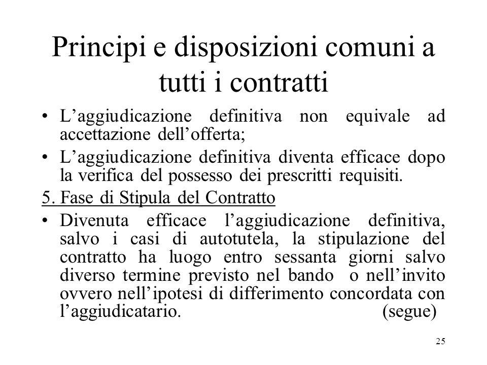 25 Principi e disposizioni comuni a tutti i contratti Laggiudicazione definitiva non equivale ad accettazione dellofferta; Laggiudicazione definitiva