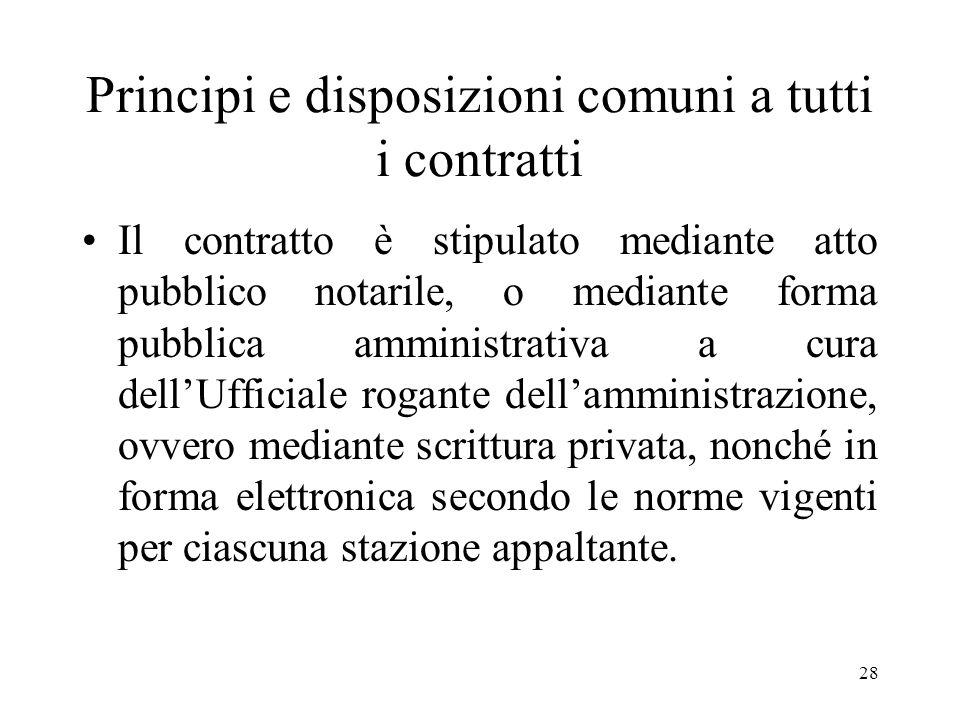 28 Principi e disposizioni comuni a tutti i contratti Il contratto è stipulato mediante atto pubblico notarile, o mediante forma pubblica amministrati