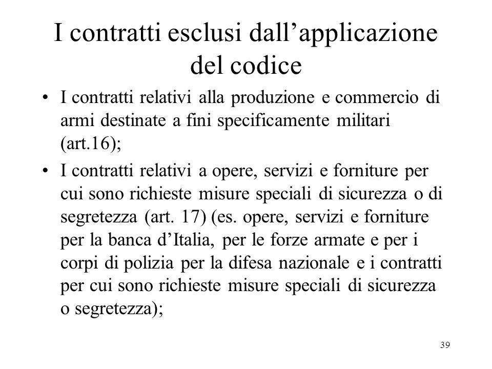39 I contratti esclusi dallapplicazione del codice I contratti relativi alla produzione e commercio di armi destinate a fini specificamente militari (