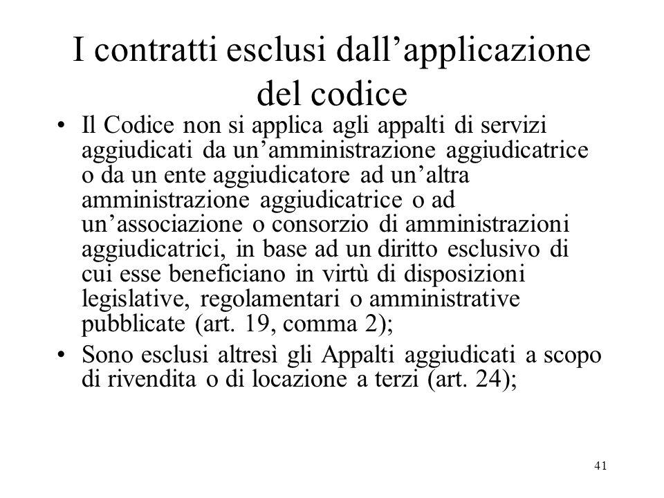 41 I contratti esclusi dallapplicazione del codice Il Codice non si applica agli appalti di servizi aggiudicati da unamministrazione aggiudicatrice o