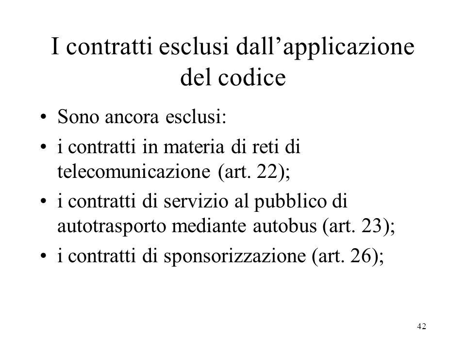 42 I contratti esclusi dallapplicazione del codice Sono ancora esclusi: i contratti in materia di reti di telecomunicazione (art. 22); i contratti di