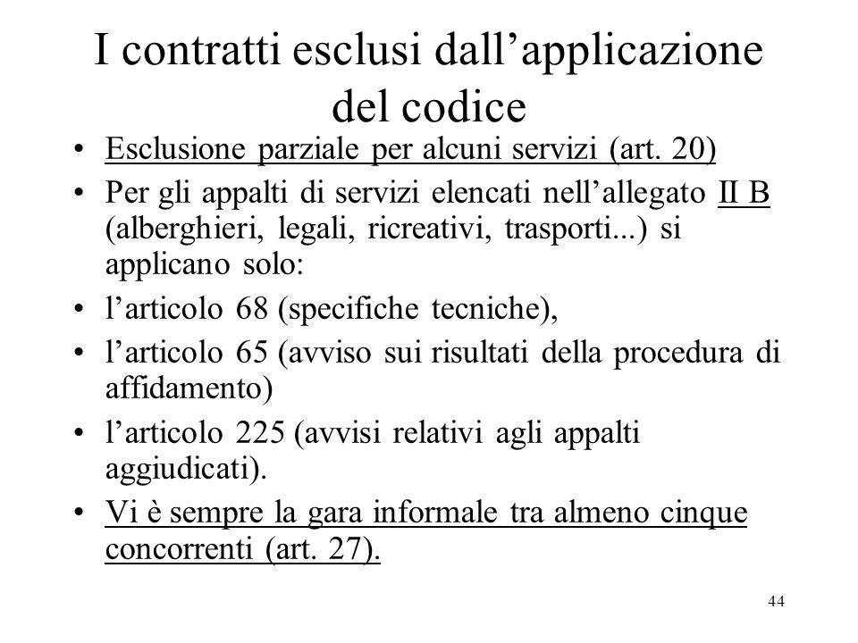 44 I contratti esclusi dallapplicazione del codice Esclusione parziale per alcuni servizi (art. 20) Per gli appalti di servizi elencati nellallegato I