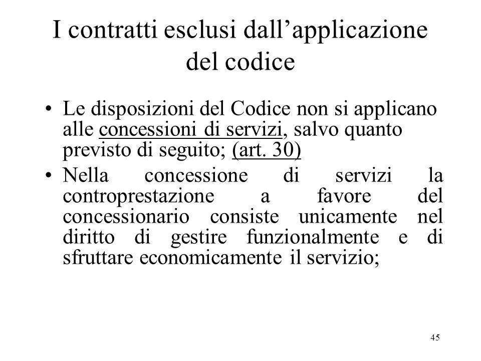 45 I contratti esclusi dallapplicazione del codice Le disposizioni del Codice non si applicano alle concessioni di servizi, salvo quanto previsto di s