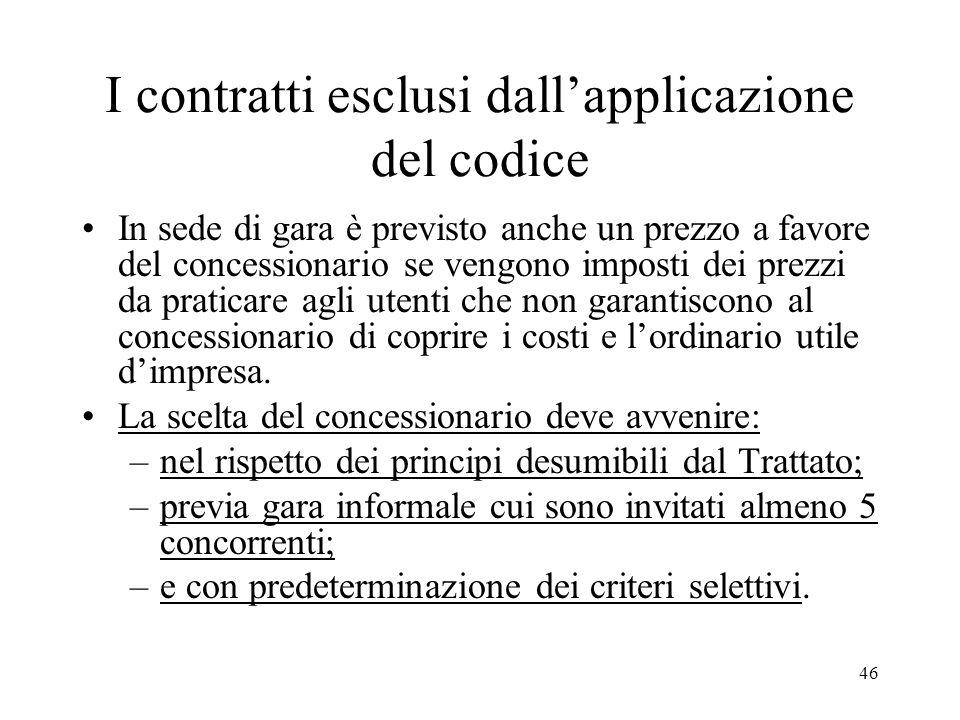 46 I contratti esclusi dallapplicazione del codice In sede di gara è previsto anche un prezzo a favore del concessionario se vengono imposti dei prezz