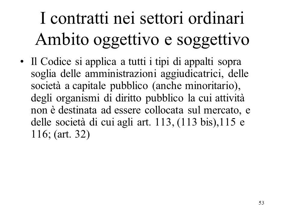 53 I contratti nei settori ordinari Ambito oggettivo e soggettivo Il Codice si applica a tutti i tipi di appalti sopra soglia delle amministrazioni ag