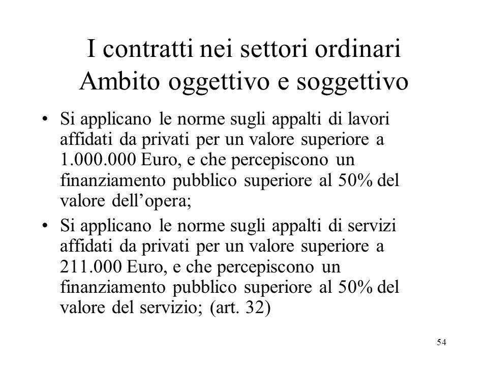 54 I contratti nei settori ordinari Ambito oggettivo e soggettivo Si applicano le norme sugli appalti di lavori affidati da privati per un valore supe
