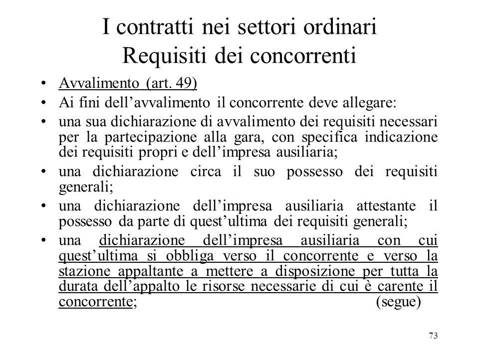 73 I contratti nei settori ordinari Requisiti dei concorrenti Avvalimento (art. 49) Ai fini dellavvalimento il concorrente deve allegare: una sua dich