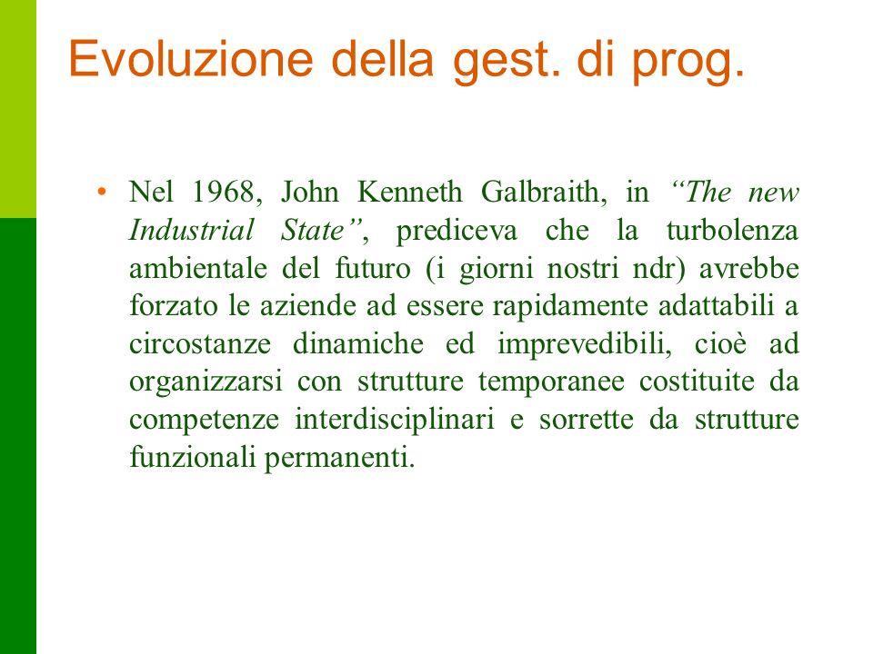 10 Evoluzione della gest. di prog. Nel 1968, John Kenneth Galbraith, in The new Industrial State, prediceva che la turbolenza ambientale del futuro (i