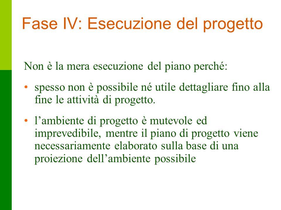 33 Fase IV: Esecuzione del progetto Non è la mera esecuzione del piano perché: spesso non è possibile né utile dettagliare fino alla fine le attività