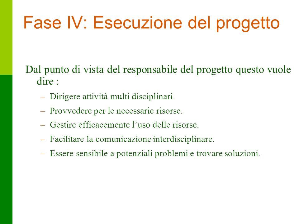 34 Fase IV: Esecuzione del progetto Dal punto di vista del responsabile del progetto questo vuole dire : –Dirigere attività multi disciplinari. –Provv