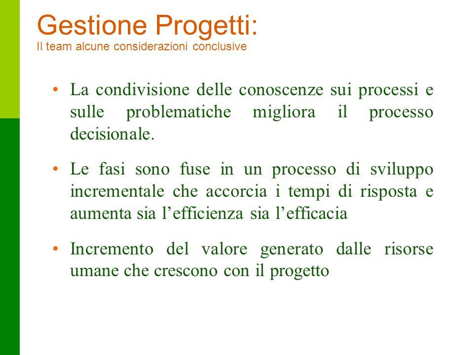46 La condivisione delle conoscenze sui processi e sulle problematiche migliora il processo decisionale. Le fasi sono fuse in un processo di sviluppo