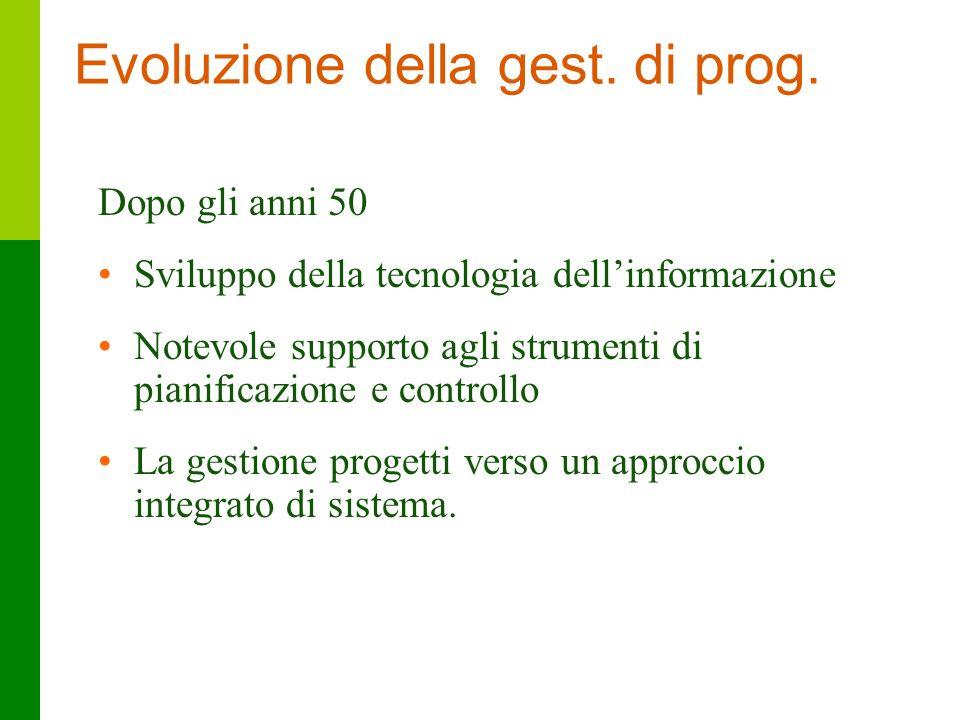 6 Evoluzione della gest. di prog. Dopo gli anni 50 Sviluppo della tecnologia dellinformazione Notevole supporto agli strumenti di pianificazione e con