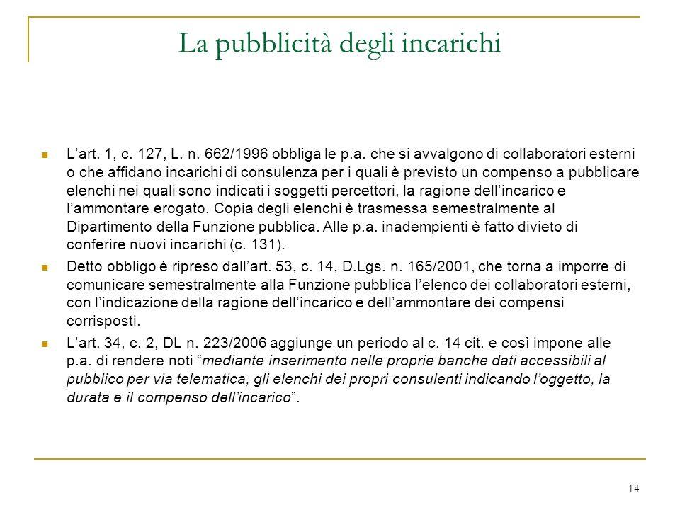 14 La pubblicità degli incarichi Lart. 1, c. 127, L.